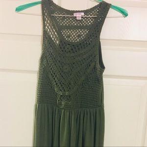 Xhilaration Size S Green Woven Pattern Maxi Dress